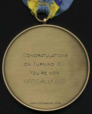 30th birthday gag gift badge