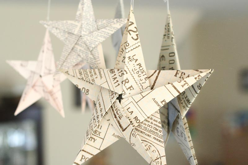 How To Make Paper Christmas Ceiling Decorations : Folding pointed origami star christmas ornaments