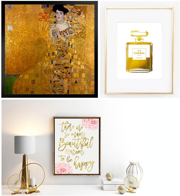 50th birthday ideas gold art prints