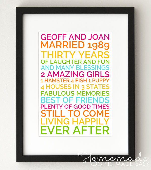 personalized marriage anniversary poster wedding anniversary gift