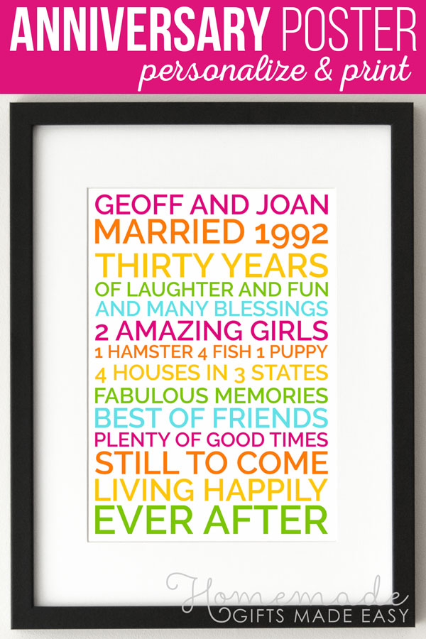 Create a personalized wedding anniversary poster gift