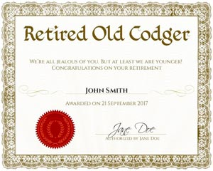 Funniest retirement gag gifts free printables and instructions 50th birthday gag gifts certified oldie certificate solutioingenieria