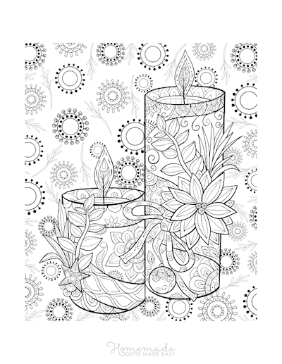 Christmas Coloring Pages for Adults - Candles