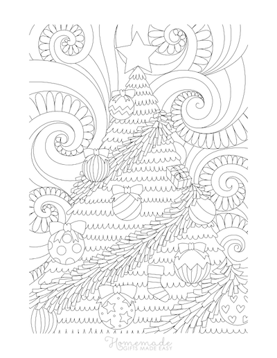 Christmas Coloring Pages for Adults - Decorated Tree Swirly Background