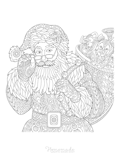 Christmas Coloring Pages for Adults Decorative Santa Sack Toys