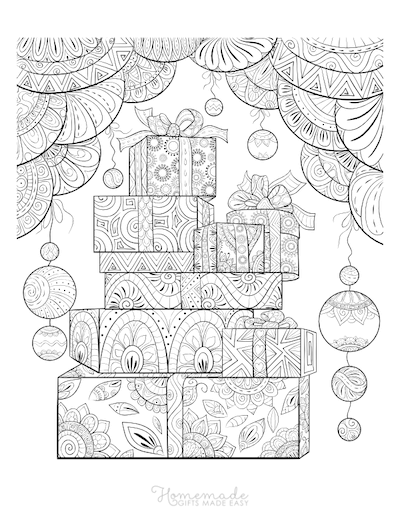 Christmas Coloring Pages for Adults - Presents Baubles Intricate Pattern