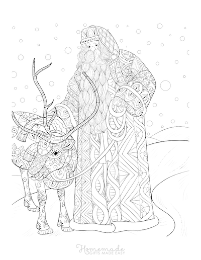 Christmas Coloring Pages for Adults - Santa Claus Reindeer Winter