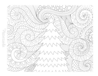 Christmas Coloring Pages for Adults - Tree Patterned Swirl Background