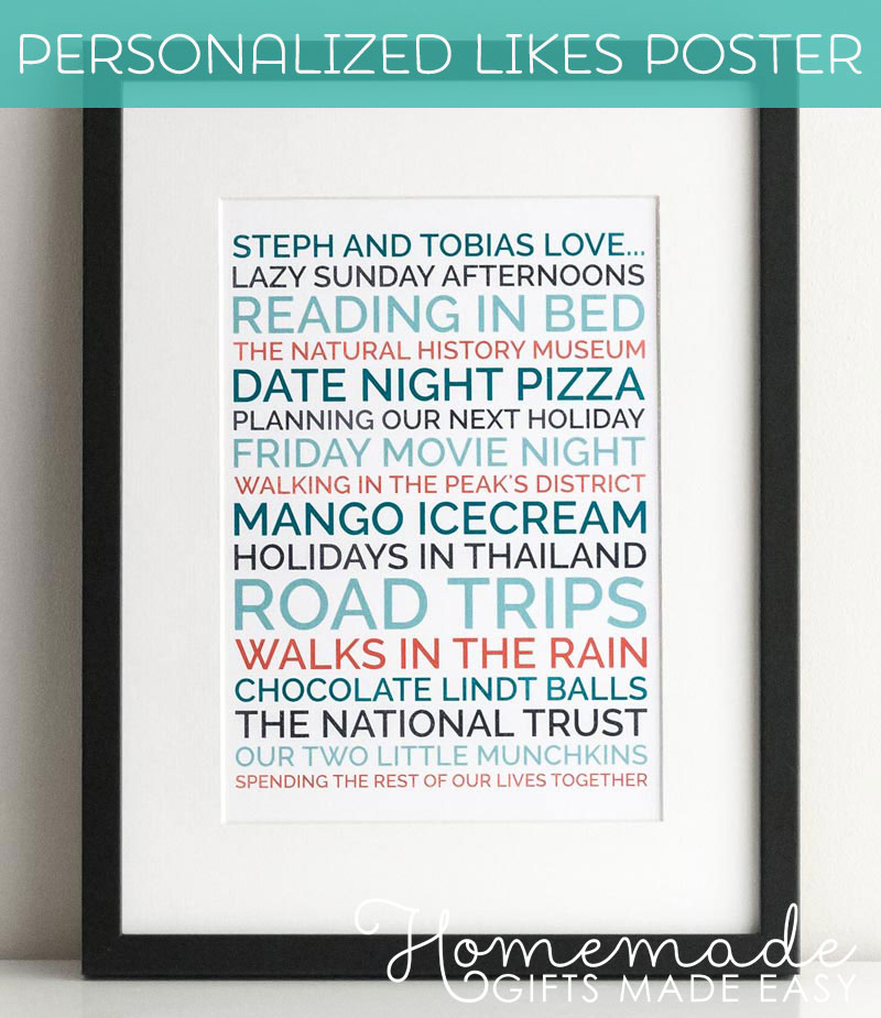 Free homemade gift ideas instructions for easy homemade gifts to make personalised boyfriend gift remember when couples poster negle Image collections