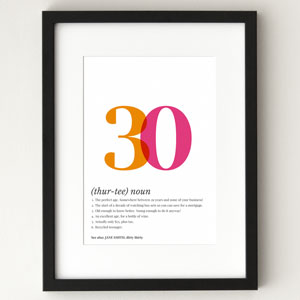 30th Birthday Personalized Poster. definition poster 30