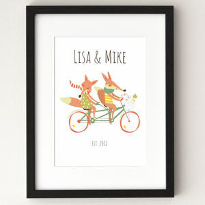 fox couple personalized poster