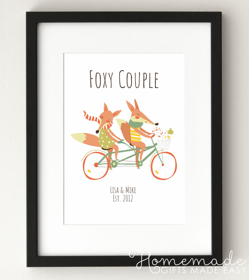 personalized fox couple anniversary poster creative anniversary gift