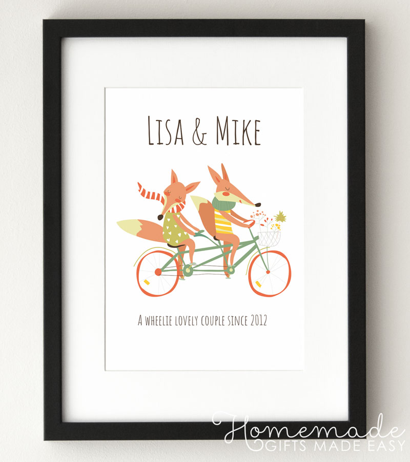 fox couple personalized poster with names
