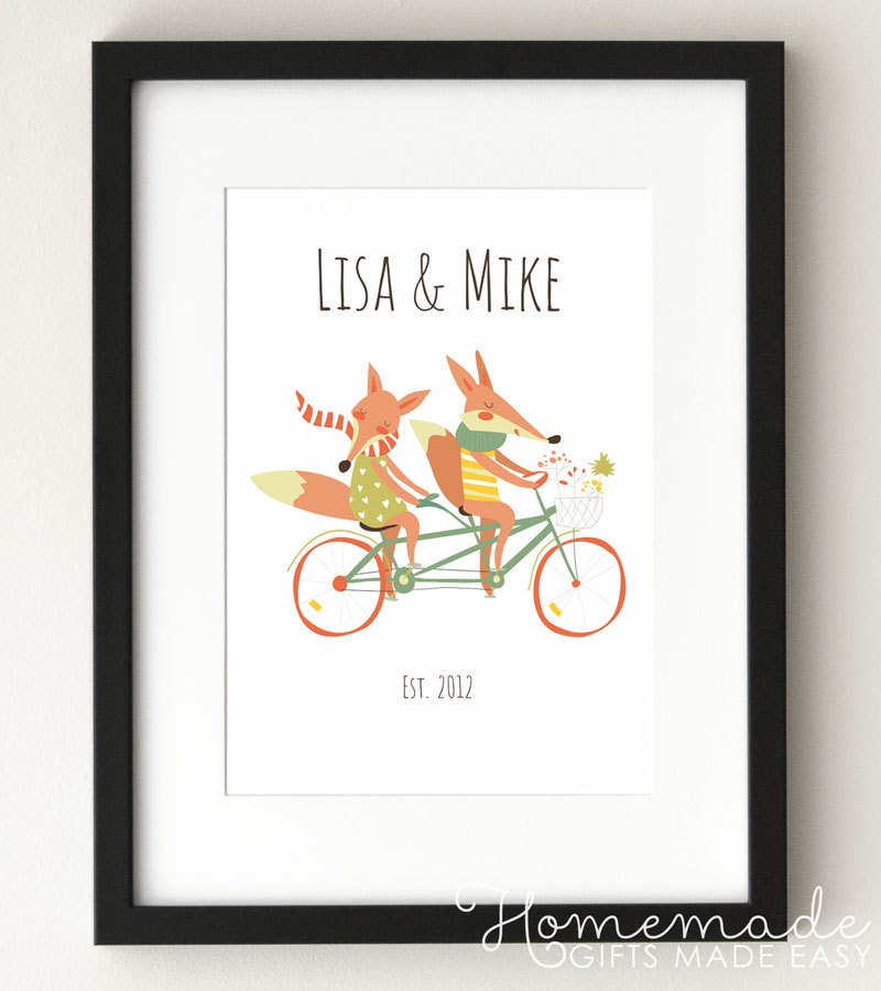 personalized fox couple anniversary poster wedding anniversary gift