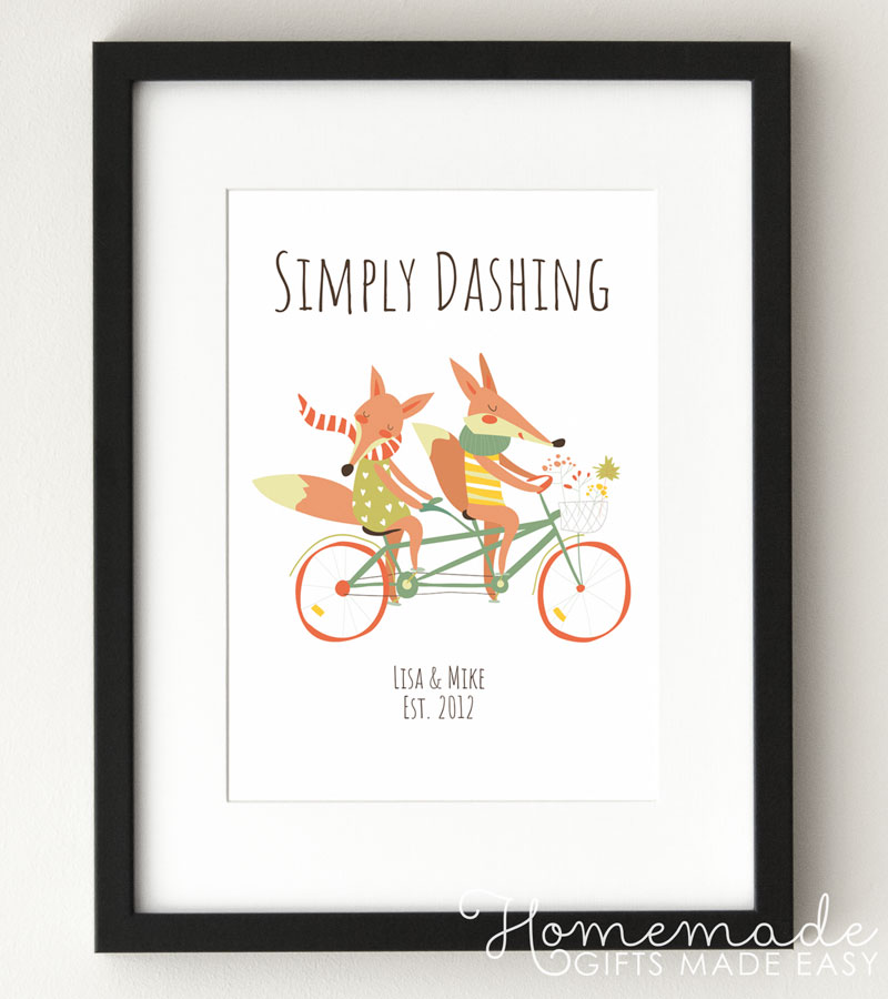 fox couple simply dashing personalized poster