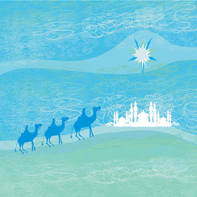Printable Christmas Cards - 3 Kings Camels Blue Green