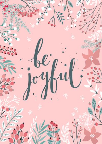 Free Printable Christmas Cards Be Joyful Botanical