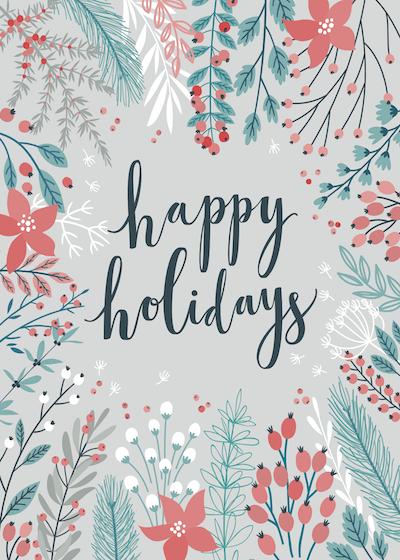 Free Printable Christmas Cards Happy Holidays Botanical