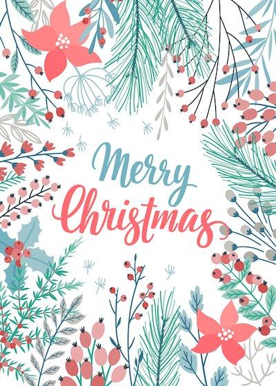 Free Printable Christmas Cards Merry Botanical