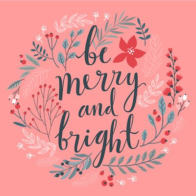 Printable Christmas Cards - Merry Bright Botanical Wreath