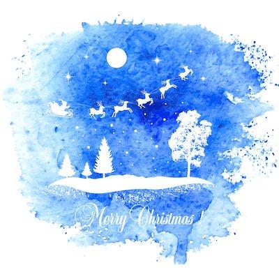 Free Printable Christmas Cards Watercolor Santa Sleigh Christmas Eve