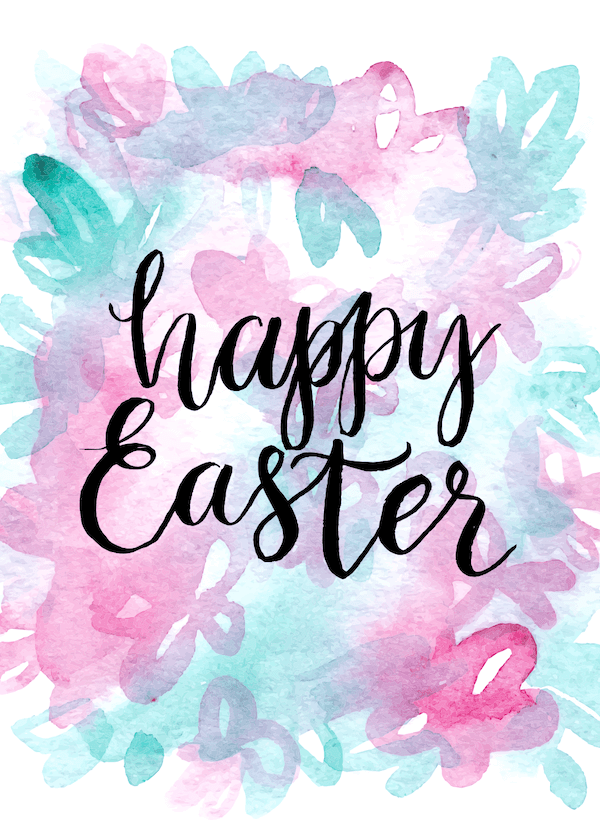 free printable easter cards - Watercolor bouquet