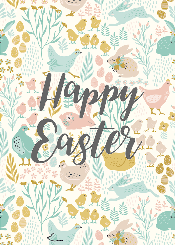 free printable easter cards - Chickens, bunnies and flowers