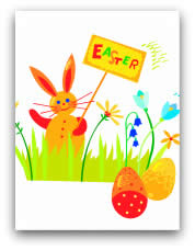 free printable easter cards bunny with sign