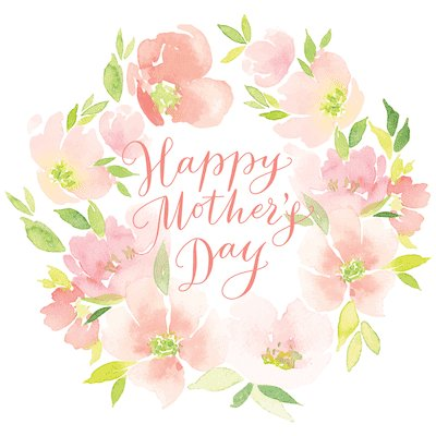 Free Printable Mothers Day Cards Watercolor Flower Wreath