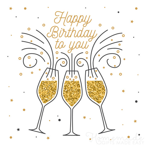 happy birthday wishes images champagne 600x600