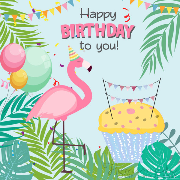happy birthday mom images flamingo 600x600