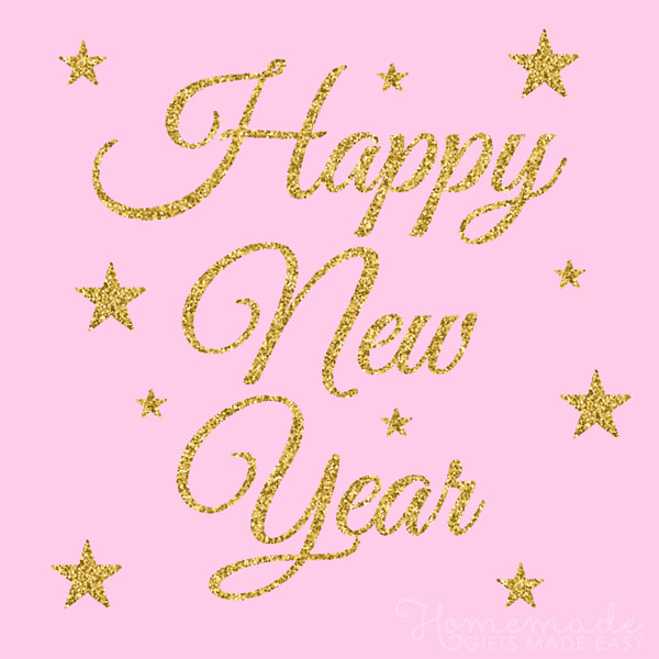 happy new year images pink gold glitter 600x600