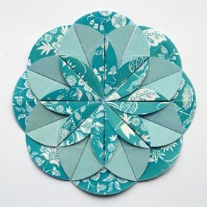 blue origami dahlia flower