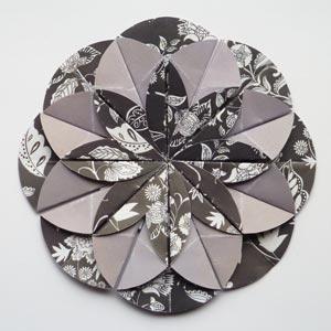 grey origami dahlia flower