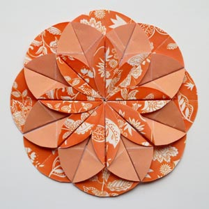 orange origami dahlia flower
