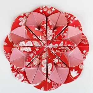 red origami dahlia flower
