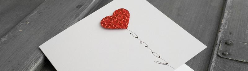 homemade valentine card heart balloon