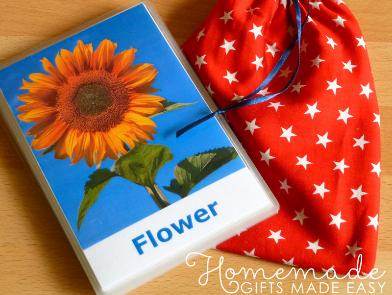 homemade baby gifts flash cards
