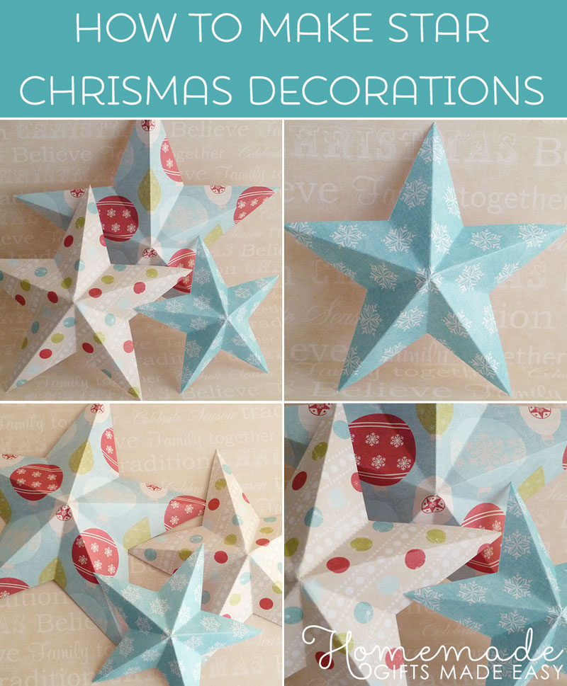 making christmas decorations 3d paper stars templates and instructions at homemade gifts - Paper Christmas Decorations To Make At Home