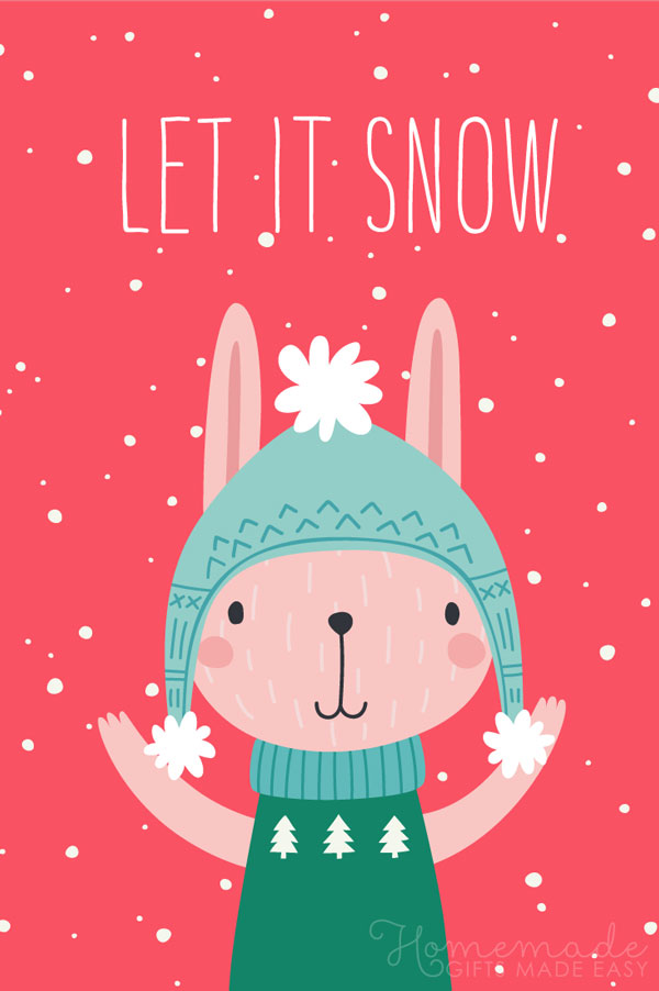 merry christmas images let it snow bunny 600x900