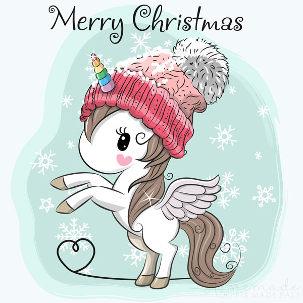 merry christmas images unicorn 600x600