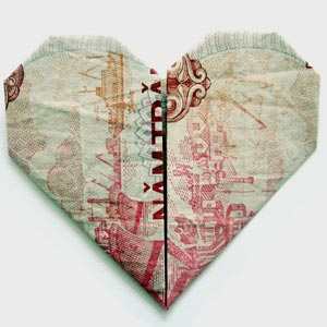 simple money origami heart