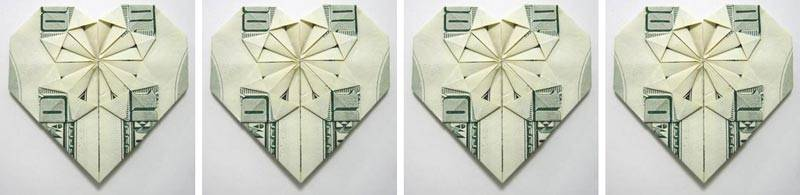 MONEY ORIGAMI HEART - Folding Instructions Included - Dollar Bill ... | 195x800