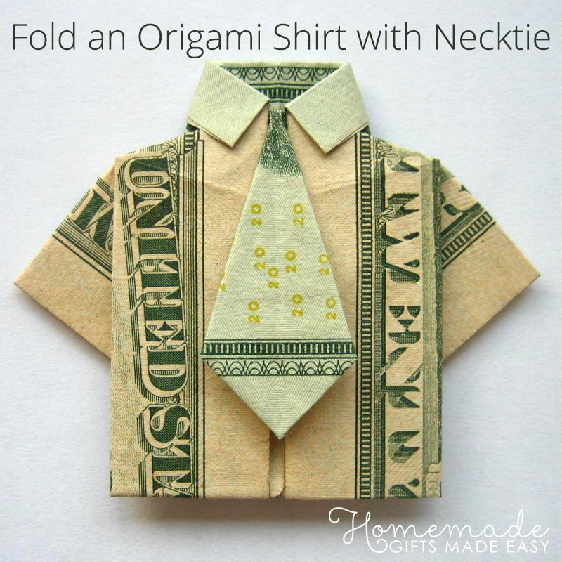 money origami shirt and tie