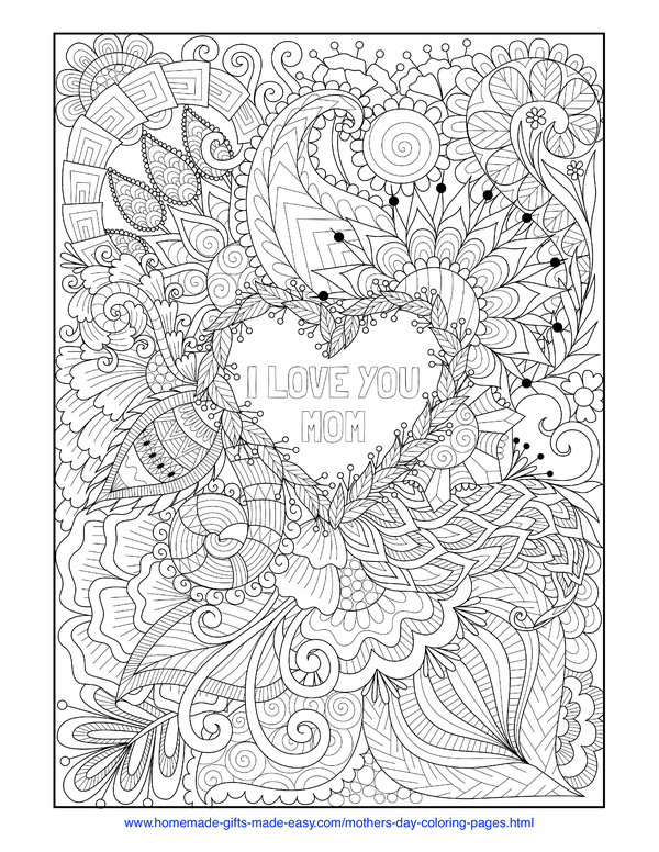 mother's day coloring pages - intricate heart with love you mom