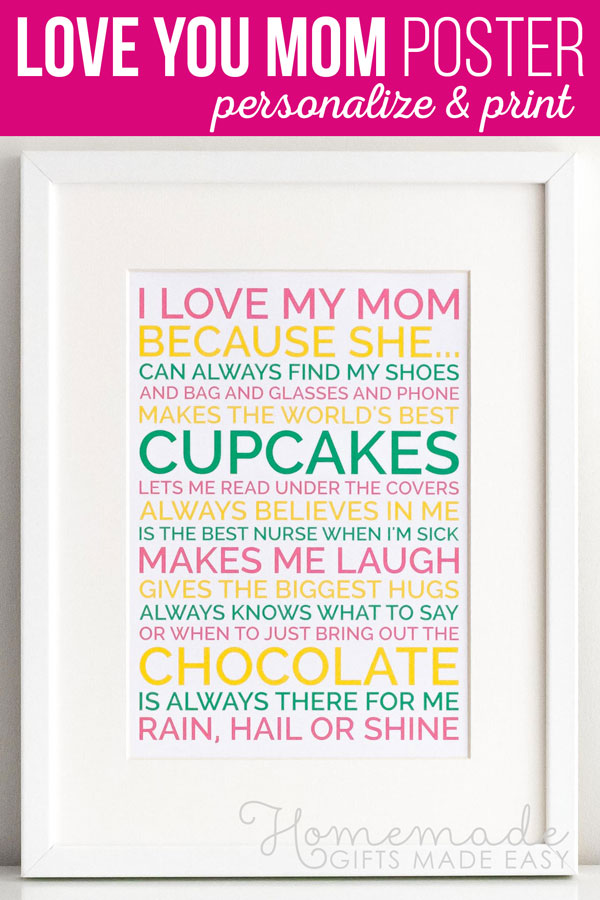 Mothers Day Personalized Poster Gift