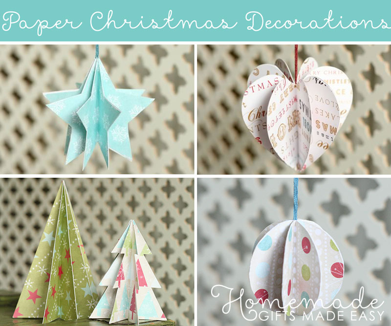 paper christmas ornament tree - Easy Paper Christmas Decorations