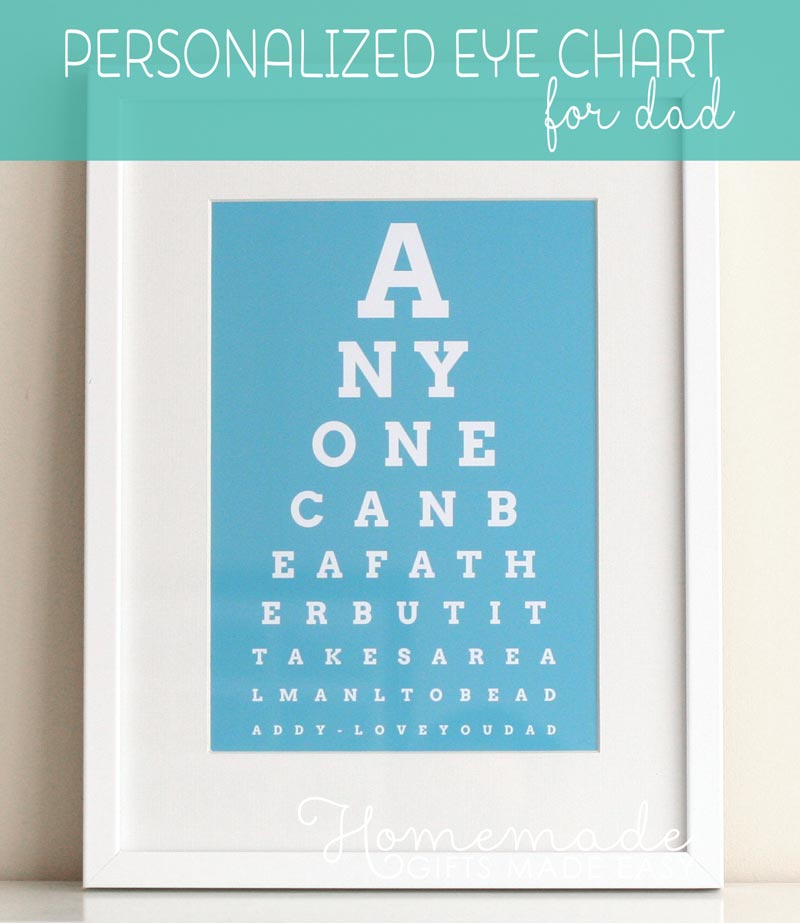 personalized fathers day gift eye chart in white frame