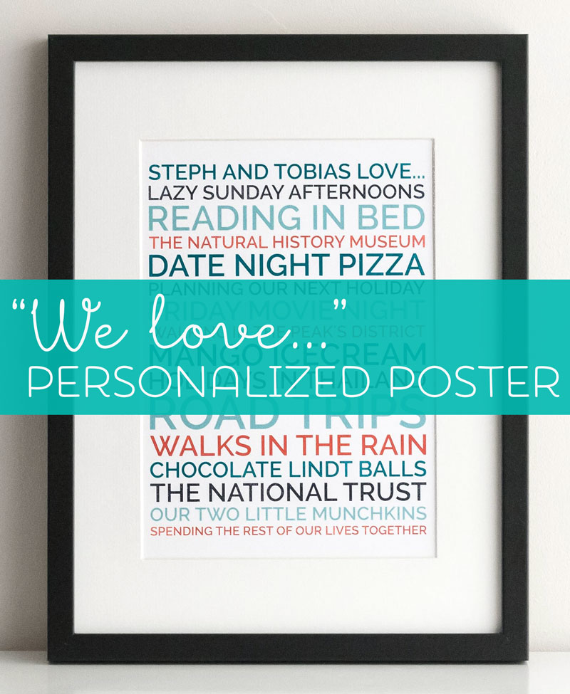 personalized we love couples poster boyfriend gift
