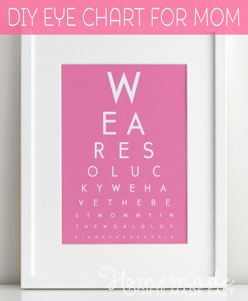 mothers day personalized eye chart gift diy pink
